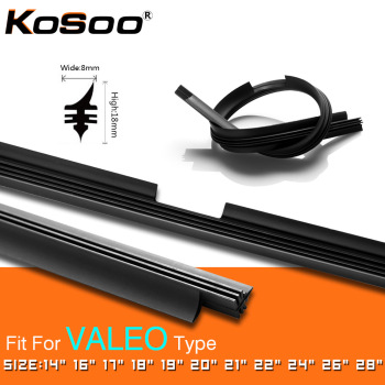 KOSOO 1PCS Car Vehicle Insert Natural Rubber For Valeo Type Beam Wiper Blade Only (Refill) 8mm 1416171819202122242628 kosoo 1pcs car wiper blade windscreen natural rubber replacement strip 8mm 1416171819202122242628 auto accessories