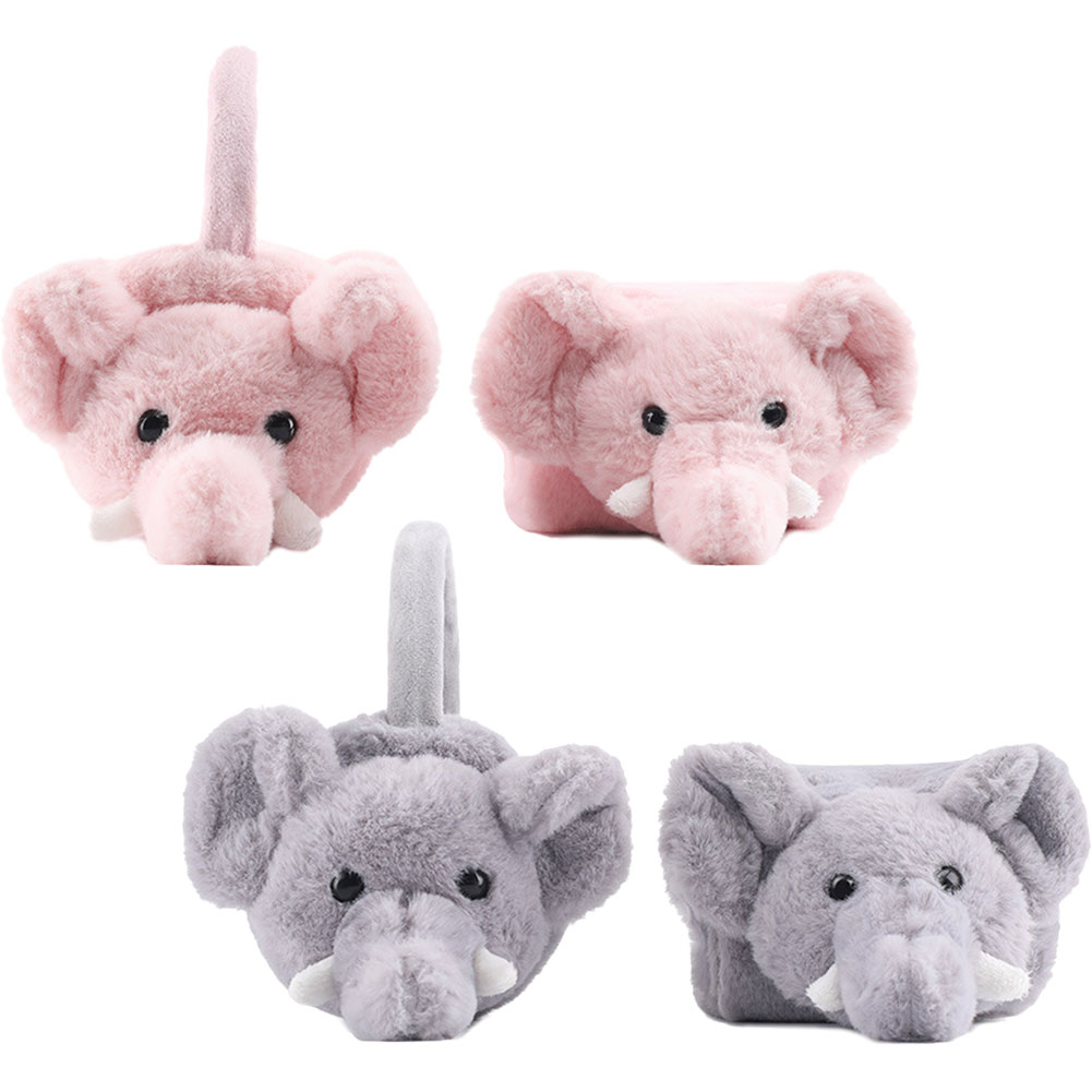 New Plush Warm Earmuffs Scarf Set Stay Cute Baby Elephant Winter Warm Suit Travel Scarf Earmuffs Parent-child Two-piece Set
