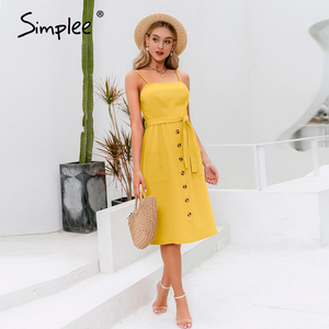Image 3 - Simplee Elegant ปุ่มผู้หญิงชุดกระเป๋า Polka Dots สีเหลือง MIDI ฤดูร้อนชุดลำลองหญิง PLUS ขนาด Lady Beach vestidos