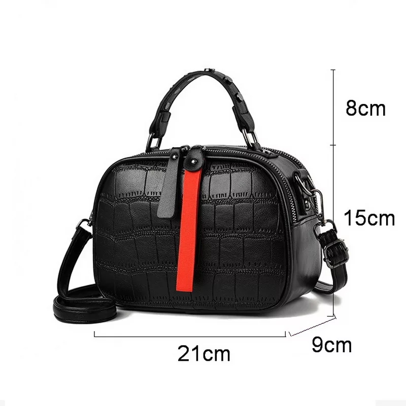 Ansloth Crocodile Pattern Shoulder Bag Women Rivet Handbag Lady Hit Color Crossbody Bag Quilted Hand Bag Female Mini Bag HPS638 in Top Handle Bags from Luggage Bags