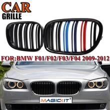 цена на MagicKit Car Front Bumper Racing Grills For BMW 7 Series F01 F02 F03 730LI 740LI 750LI 760LI 09-15 Gloss Black 2Slat Accessories