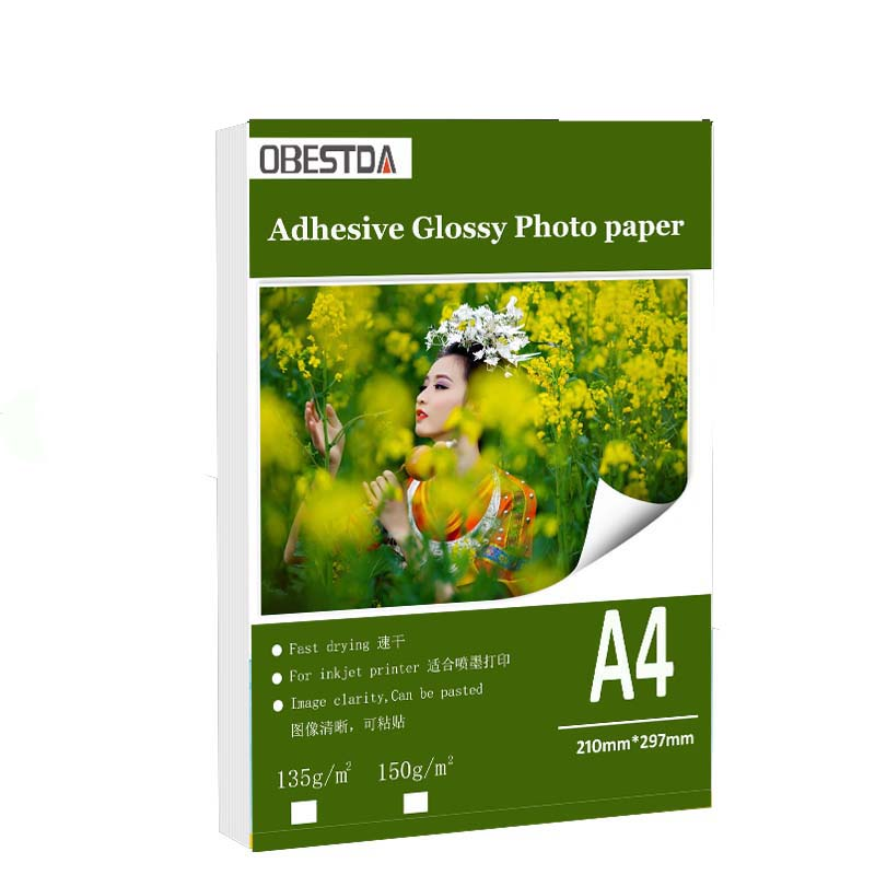 A4 50sheets A6 100sheets 135g 150g High Glossy Self Adhesive Inkjet Printing With Back Glue Sticker Photo Paper
