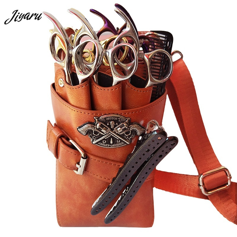 New Scissors Bag PU Leather Hairdressing Holster Pouch Waterproof Barber Hair Scissor Bag Waist Shoulder Belt Barber Pouch