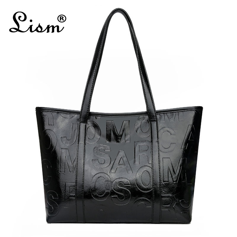 Brand Luxury Women's Bag 2020 New Large Capacity Tote Bag Designer Letter Handbag Soft PU Leather Shoulder Bag Black Main