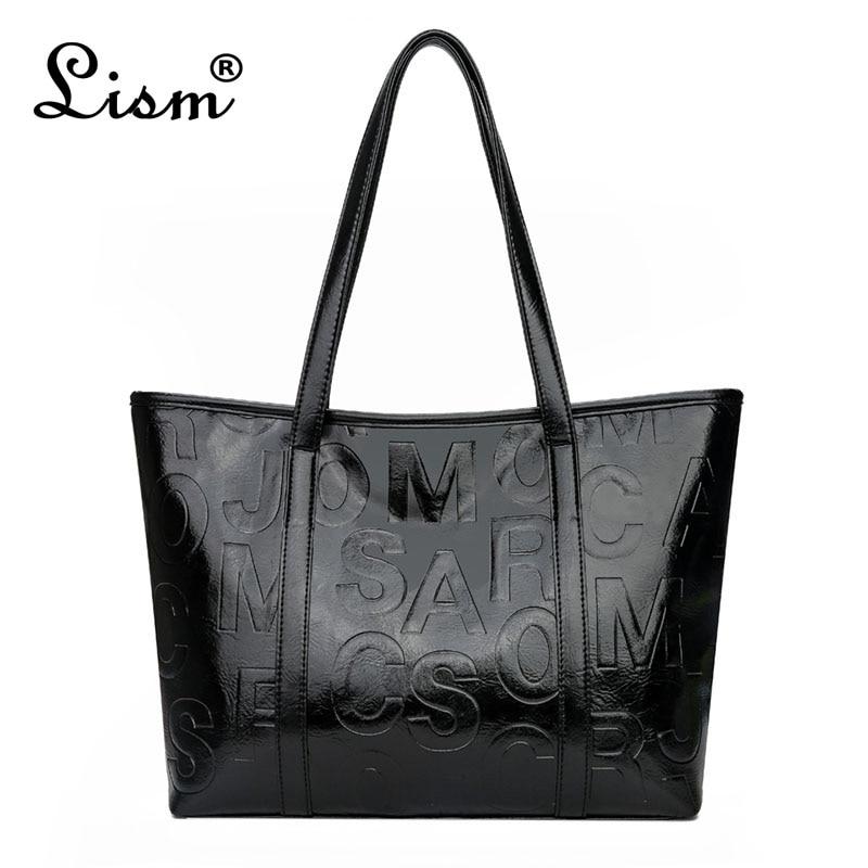 Brand Luxury Women's Bag 2020 New Large Capacity Tote Bag Designer Letter Handbag Soft PU Leather Shoulder Bag Black Main