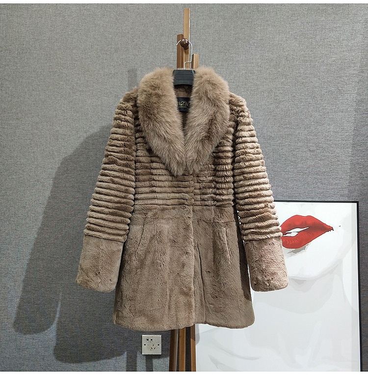 2020 women fur coat Real Fox Fur Collar Long Coat Stripe Nature Pure Genuine Rabbit Fur Jacket Factory Outlet Wholesale OEM Fur image