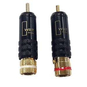 Image 5 - 2 stücke Gold Überzogene Kupfer RCA Stecker Durable RCA Stecker Schrauben Löten Locking Audio Video WBT Stecker 53mm * 13mm