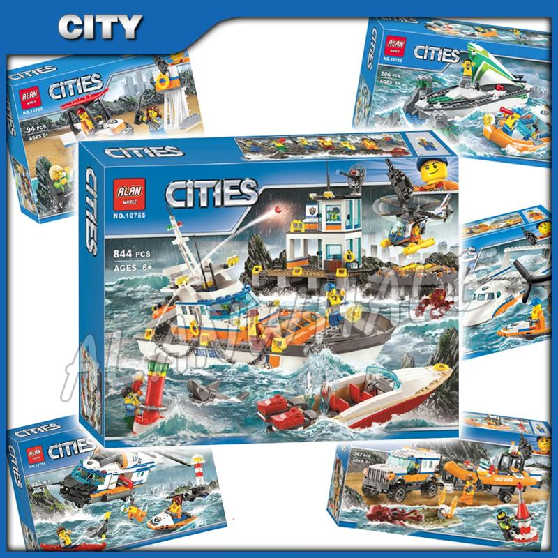 6types 2017 City Coast Guard Theme Headquarters Squad Crew Response Helicopter Model Building Blocks Toys Compatible With Lago