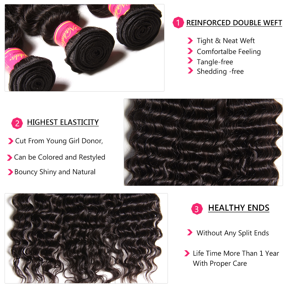 Nadula Deep Wave Bundles with Closure 4x4 Lace Closure Pre plucked With Baby Hair 12-26inch  Bundles with Closur 4