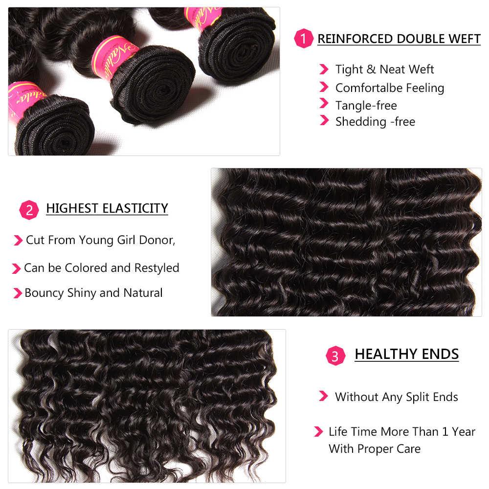 Paquetes de pelo de onda profunda de Nadula con cierre 6x6 Cierre de encaje Pre desplumado con pelo de bebé 12-26 paquetes de cabello humano Remy de pulgadas con paquetes de cabello brasileño de cierre