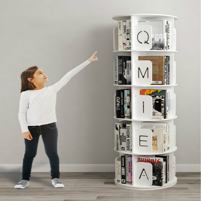 Rotating Bookcase 360 Degree Bookcase Shelf Home Simple Picture Book Shelf Children Fall To The Ground