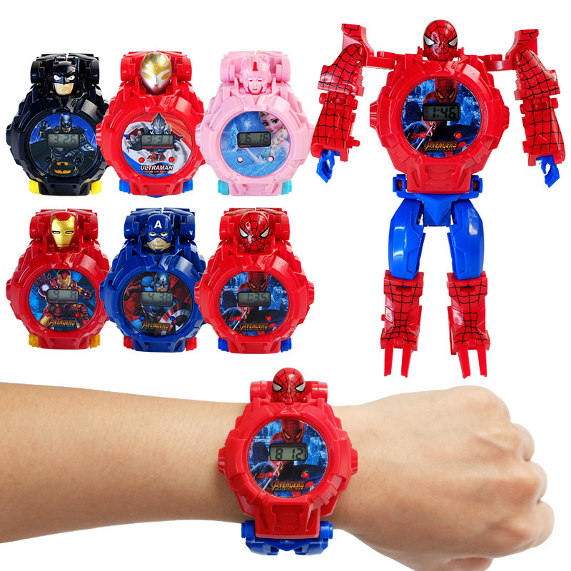 Original Children Kids Toy Watch Deformation Iron Man Spider-Man Captain America Electronic Cartoon Child Boys Girls Wristwatch