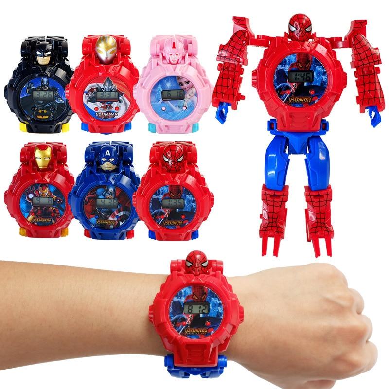 Original Children Kids Toy Watch Deformation Iron Man Spider-Man Captain America Electronic Cartoon Child Boys Girls Wristwatch