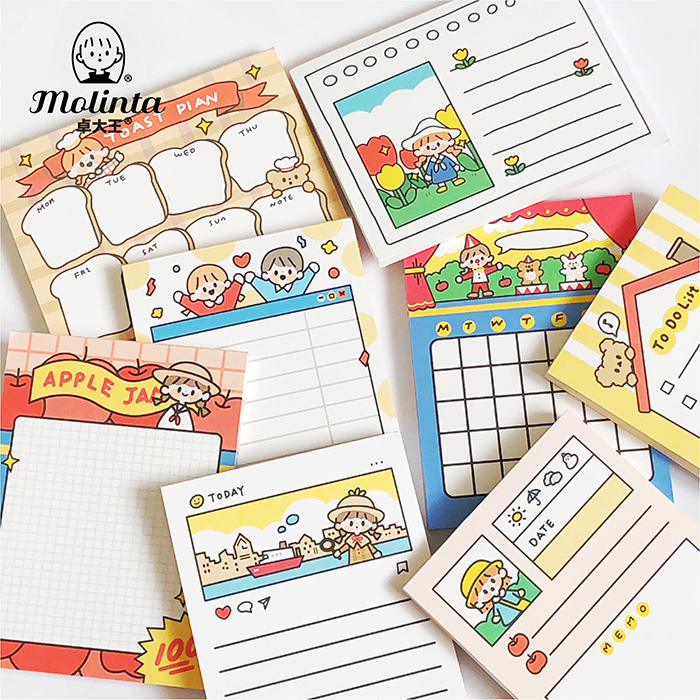 50sheets/pack Lovely Molinta Memo Pad Animal Paper Sticker Package DIY Diary Decoration Sticker Album Scrapbooking
