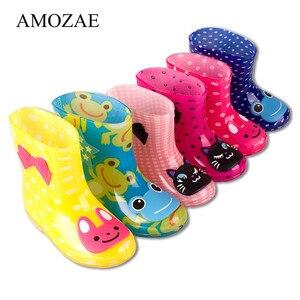 Nuevas botas de lluvia de primavera y otoño, botas de tobillo con patrón de animales para niños y bebés, zapatos de agua impermeables de PVC para niños y niñas