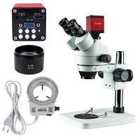 Professional Simul Focal Trinocular Stereo Microscope 3.5X 90X Vertical Zoom+13MP HDMI/VGA Microscope Camera for PCB Soldering
