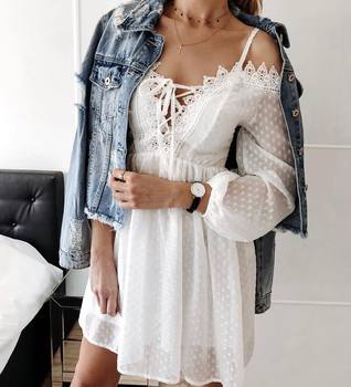 Elegant White Lace Strapless Strap Dress Women Hollow Out Bandage Sexy Embroidery Mini Spring Summer Beach Fairy