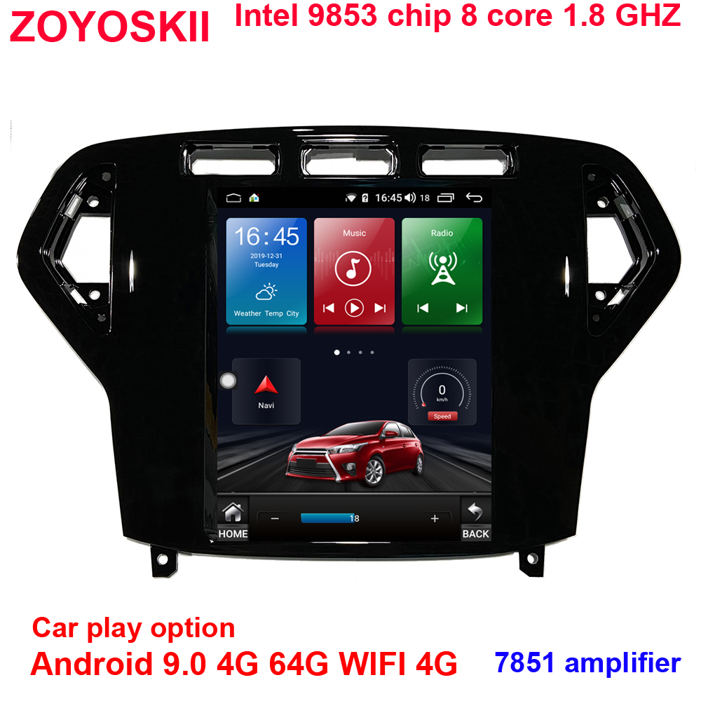 Android 9.0 10.4 Inch Vertical Screen Car Gps Radio Bt Navigation Player For Ford Mondeo 2007-2010 Carplay 4G 64G WIFI 4G 8 Core