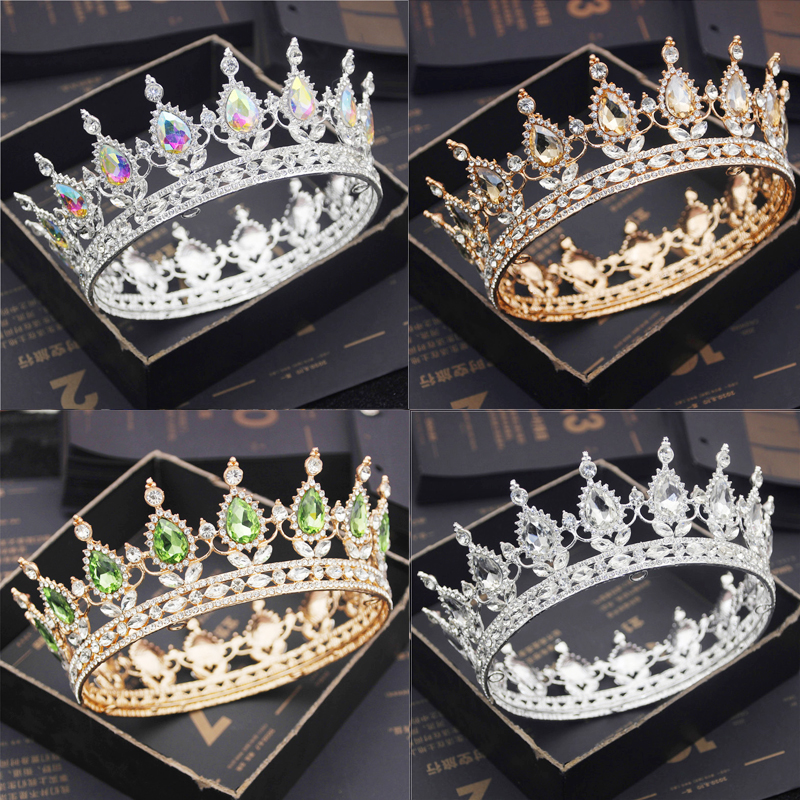 Bride Royal Purple Crystal Queen King Tiaras and Crowns Bridal Pageant Diadem Head Ornament Wedding Hair Jewelry Accessories