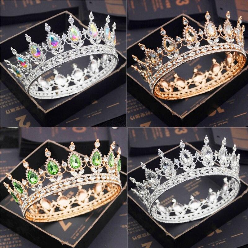 Royal tiaras e coroa de noiva, diadema de cabeça de cristal roxo para casamento, acessórios de joias de rei rainha e coroa