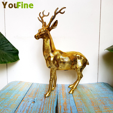 Bronze small sika deer sculpture bookcase wine cabinet decoration copper ornaments animal jewelry