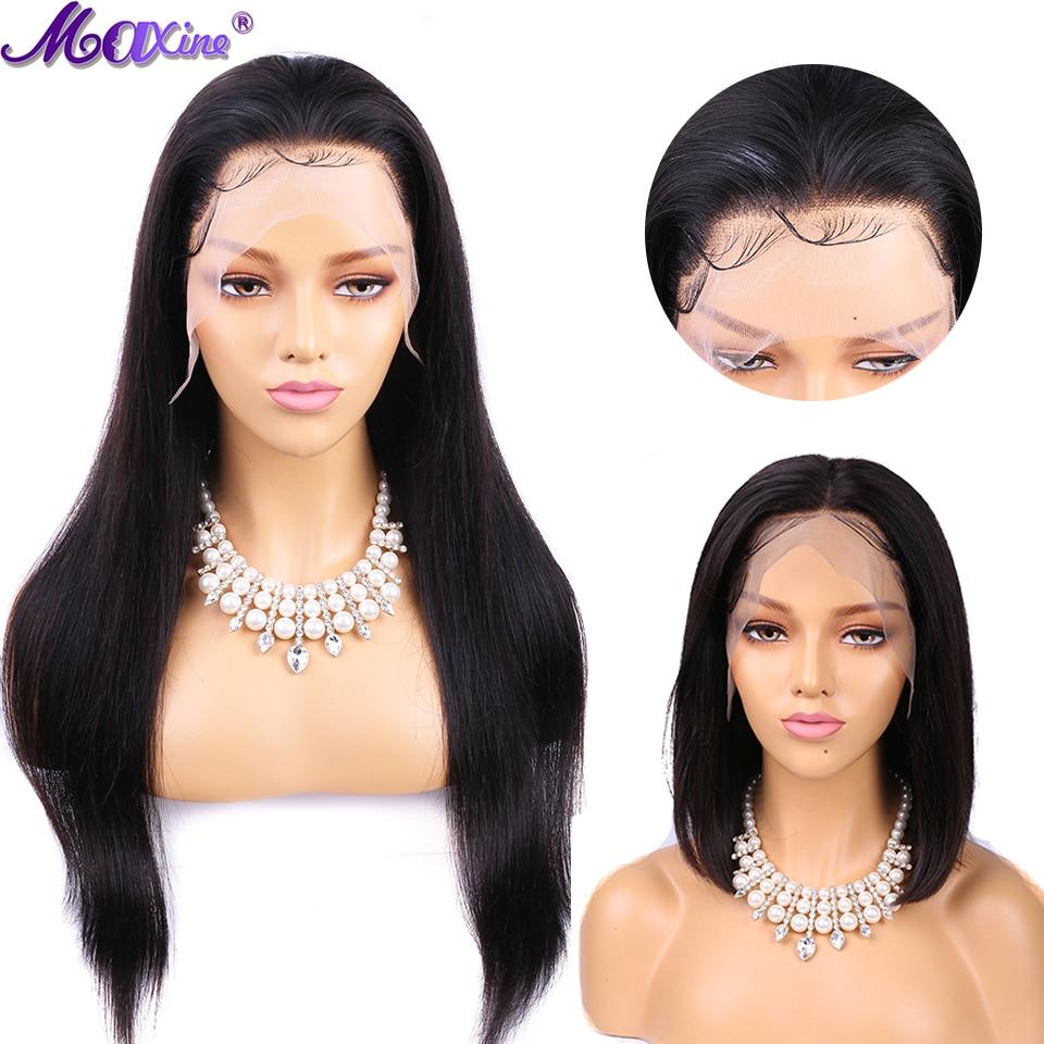 Rendas Frente em linha reta Perucas para As Mulheres Negras Maxine 13x4 13x6 Remy Peruca de Cabelo Humano Front Lace perucas de Cabelo humano Pré Arrancadas Bob Peruca