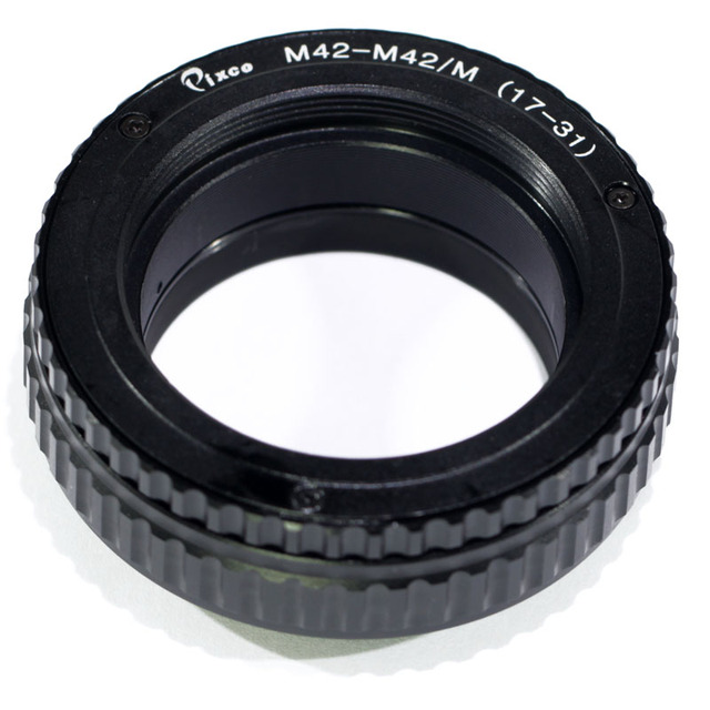 Pixco M42 כדי M42 עדשה מתכווננת התמקדות Helicoid מאקרו צינור מתאם 17mm כדי 31mm