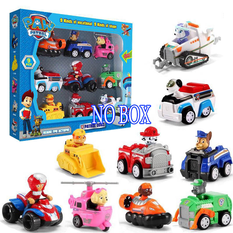 6/7/9 Pcs/set Paw Patrol Car Juguete Patrulla Canina Cartoon Car Toy Set ABS Action Figures Model Kids Toys For Children 2A09