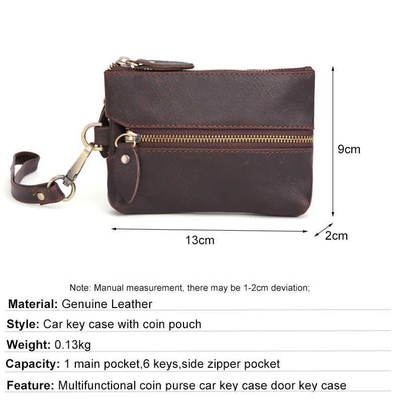 עור אמיתי מפתח ארנק גברים רכב מפתח מחזיק רוכסן מפתחות מקרה Walet מטבע ארנק כרטיס מקרה זכר סוכנת בית Keychain ארגונית