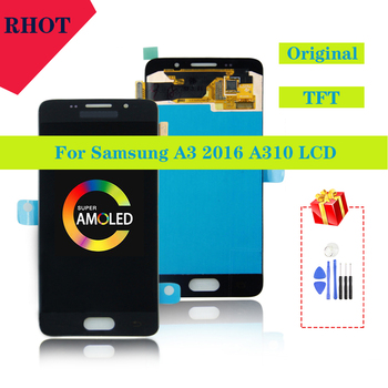 100% tested original 4.7AMOLED A3 2016 A310 LCD monitor for Samsung Galaxy A3 2016 A310 A310F A3100 touch screen LCD assembly аксессуар защитное стекло для samsung galaxy a3 2016 a310 innovation 2d colorful black 10126