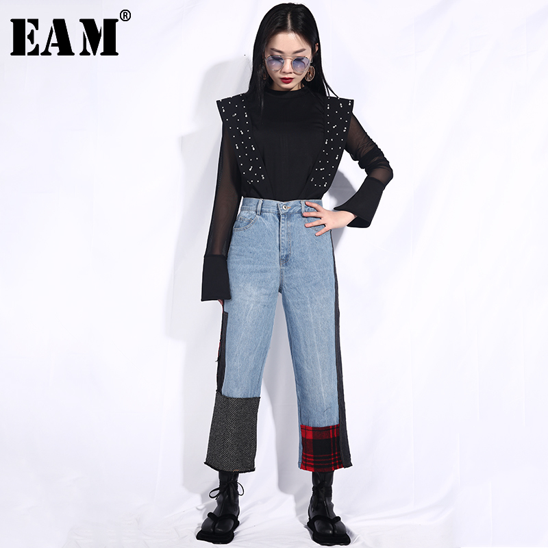 [EAM] 2019 New Spring Summer High Waist Loose Blue Plaid Patch Split Joint Loose Wide Leg Jeans Women Trousers Fashion JI83