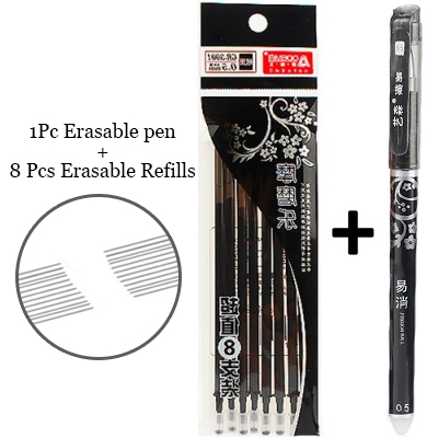1+8Pcs/Set Blue Black Ink Erasable Ballpoint Pen 0.5mm Refills Pens For Kids Gifts Writing School Office Supplies Stationery
