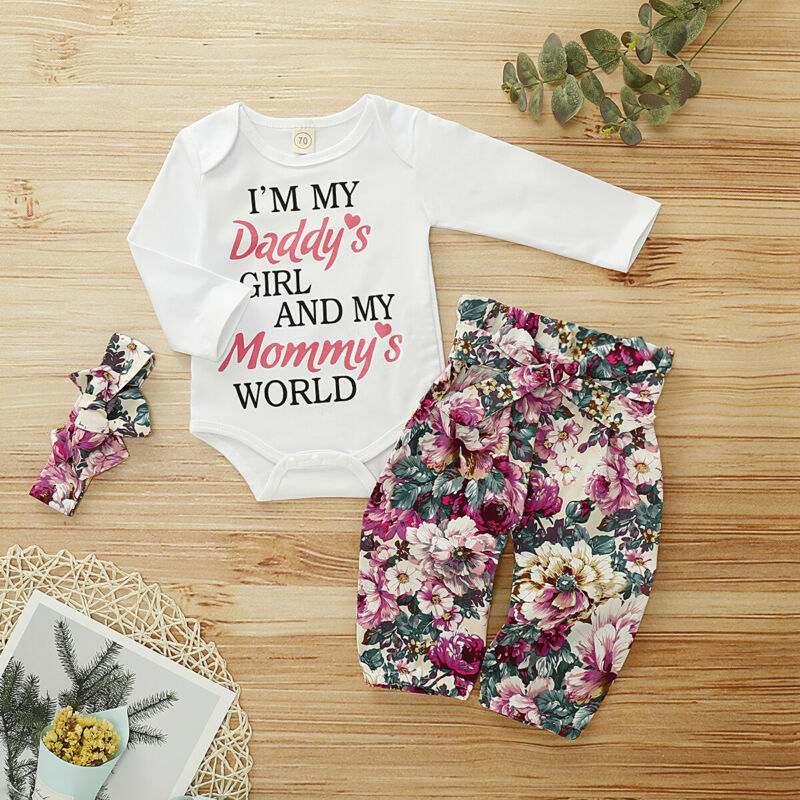 Newborn Baby Girl Autumn Long Sleeve Letter Printed Romper Tops Jumpsuit Floral Pants Headband Outfit Clothes Set