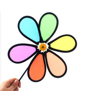 Toy Decoration Wind-Windmill Rainbow Garden Spinner Flower Yard Outdoor Kids Home Colorful