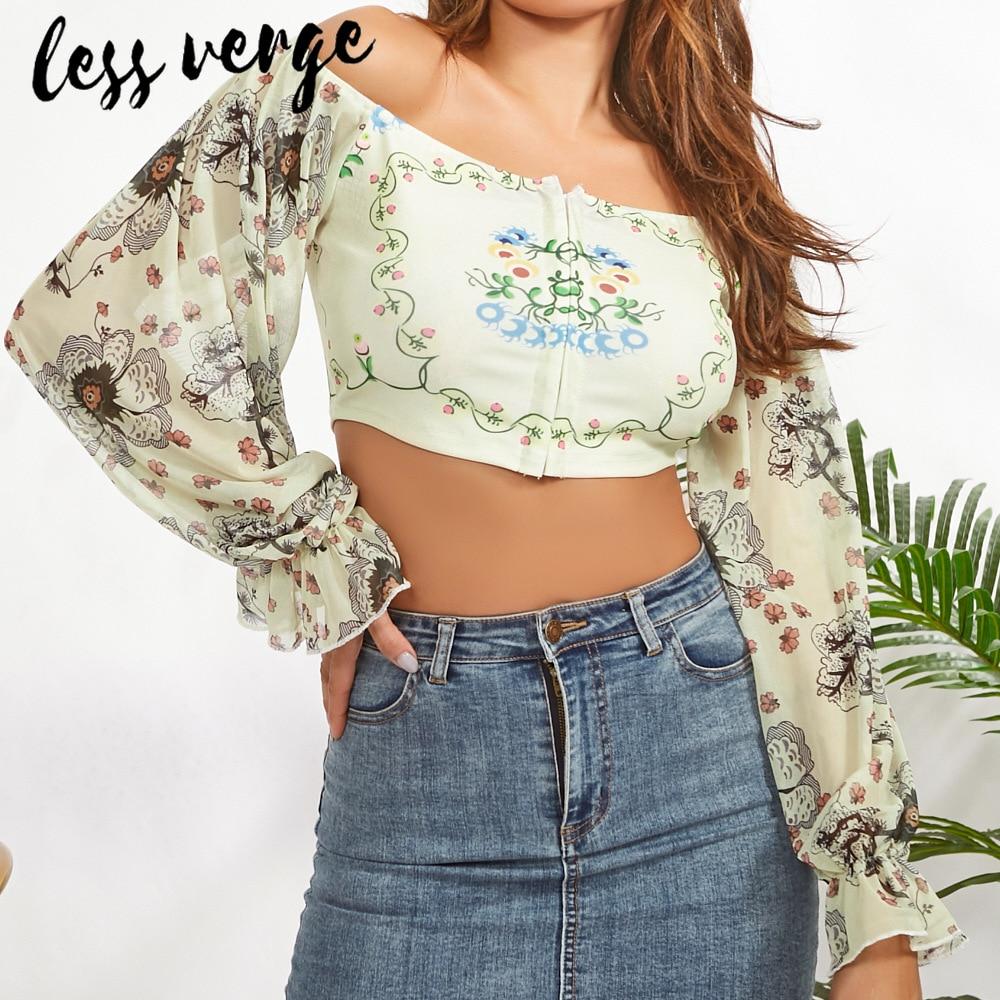 Lessverge Vintage Floral Chiffon Blouse Shirt Lantern Sleeve Ruffle Off Shoulder Short Top Women Gold Sexy Autumn Winter Blusas