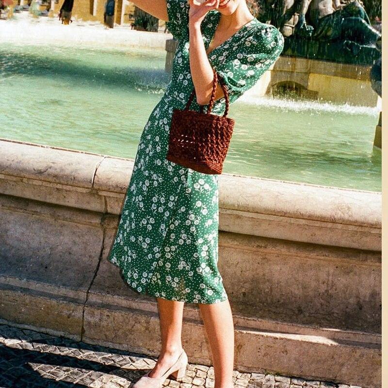 ผู้หญิง 2019 ใหม่ VINTAGE Floral พิมพ์เอวห่อชาชุด Midi ยาวหนึ่งชุด-ใน ชุดเดรส จาก เสื้อผ้าสตรี บน AliExpress - 11.11_สิบเอ็ด สิบเอ็ดวันคนโสด 1