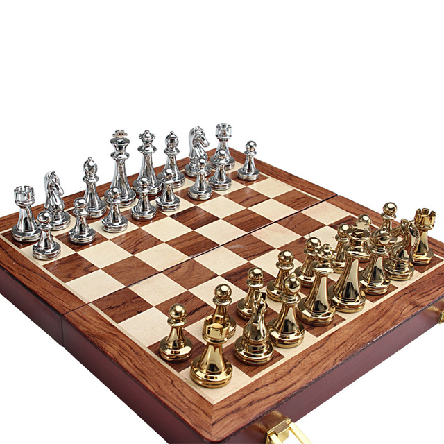 Metel Chess Pieces Wooden Chessboard Chess Game Set Beginner Chess Set for Kids and Adults High Quality Chess 1