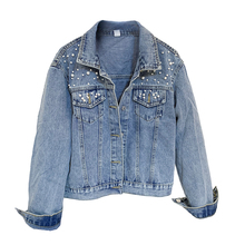 Large size 5XL denim short coat ladies spring and autumn new loose thin beaded female jacke jacke unq jacke