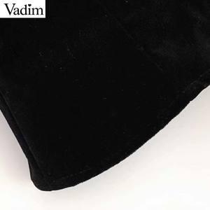 Image 5 - Vadim vrouwen stijlvolle patchwork fluwelen blouses lantaarn mouwen vrouwelijke toevallige korte stijl chic tops blusas mujer LB778