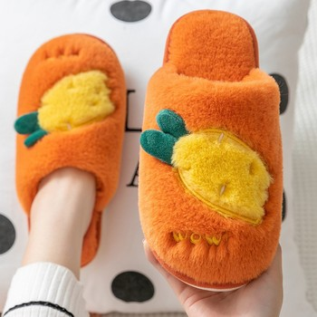 Women Fluffy Slippers Winter Warm Fur Shoes Men Lovers Cute Fruits Carrot Butterfly Soft Sole Home Ladies Plush Zapatillas Mujer - discount item  28% OFF Women's Shoes