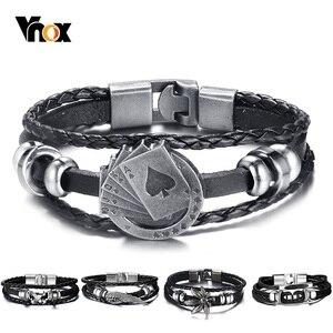 Vnox Lucky Vintage Men's Leath