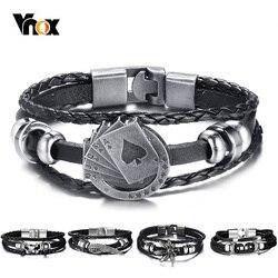 Vnox lucky vintage pulseira de couro masculino cartões de jogo raja vegas charme multicamadas trançado feminino pulseira masculina 7.87