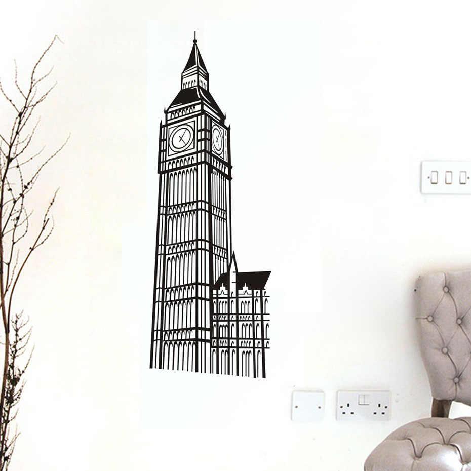 لندن لاندمارك بناء بيغ بن ساعة ملصقات صائق على الحائط للأطفال غرفة غرفة المعيشة ديكور المنزل جدار الفن الفينيل خلفيات