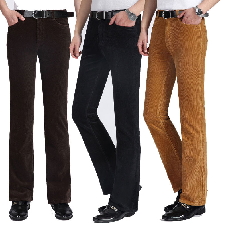 Color: Purple Black Khaki Brown Autumn And Winter Thick Men's Casual Pants Fleece Pants Men's Loose Corduroy Flared Pants