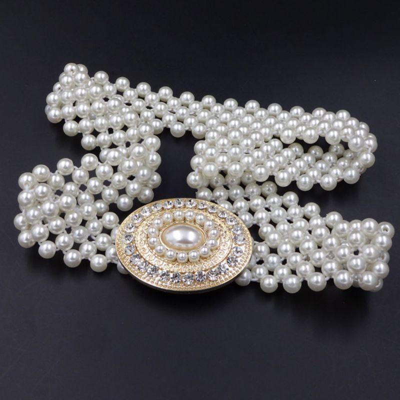 Women Bridal Imitation Pearl Stretch Waist Belt Chain With Rhinestone Buckle Wedding Dress Gown Decorative Jewelry Cummerbunds