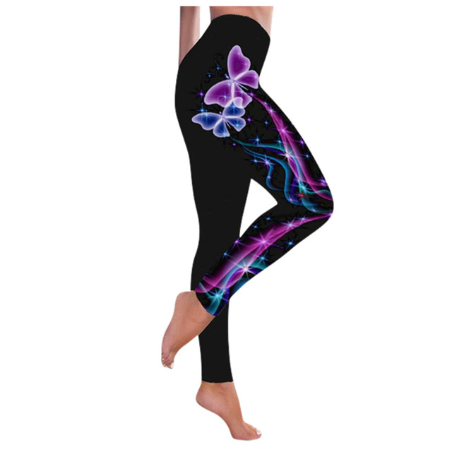#R40 High Waist Leggings Push Up Leggins Butterfly Print Women Fitness Running Gym Pants Energy Leggings Sport Girl Leggins 4