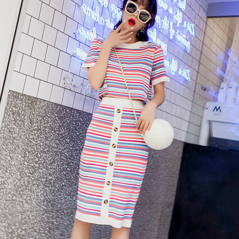 Set Hipster Stripes Skirt Hong Wei Wang Red Two Pieces Shorts Slimming