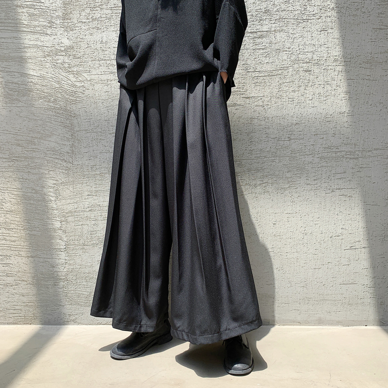 Men Streetwear Hip Hop Loose Casual Pleated Wide Leg Pants Male Women Japan Kimono Harem Trouser Skirt Pant