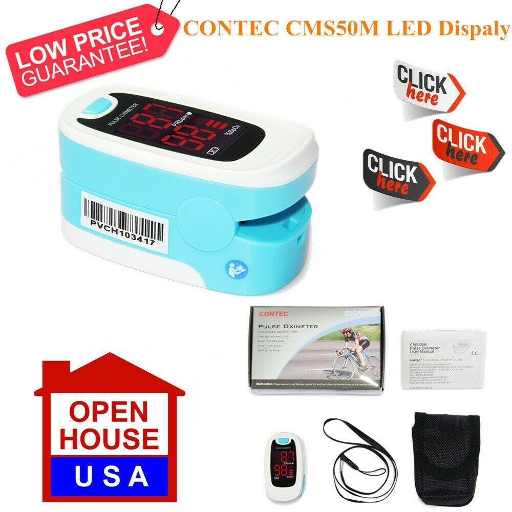 CONTEC CMS50M пульсоксиметр с пальцевым наконечником, светодиодный экран, кислородный SpO2, оксиметрический пульсометр, US Warehoues, быстрая доставка