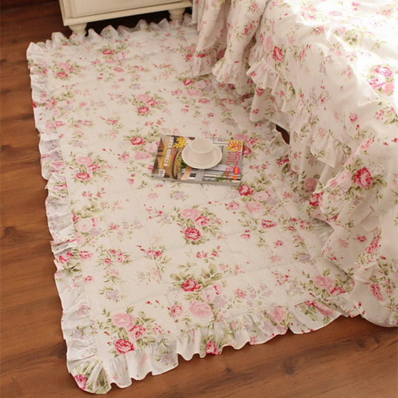 Garden Flower Print Carpet Quilted Bedroom Floor Tapetes Beauty Princess Tapis Lace Rug Home Textile Carpets For Living Room
